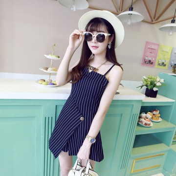 TE968YWQS Korean fashion unique clipping gallus stripes two piece suit
