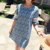 TE9773WJYS Summer fashion sweet lace splicing sleeve print dress