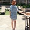 TE9773WJYS Summer fashion sweet lace splicing sleeve print dress