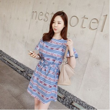 TE6333DLL Korean fashion national pope style vintage short sleeve dress