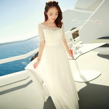 TE6372 Boat neck beads lace splicing chiffon bohemia maxi dress