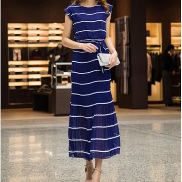 TE6490 Stripes bohemia style chiffon maxi dress