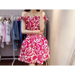 TE6693 Vintage totem print boat neck off shoulder bowknot dress