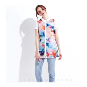 TE6793YGZ Europe fashion print slim long blouse