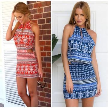 TE6794YGZ Hot sale fashion off shoulder irregular print dress