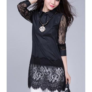 TE6917MEY Korean fashion lace splicing pure color lapel shirt