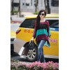 TE6050BLKColorful stripes batwing chiffon tops with vest two pieces