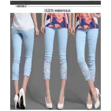 TE730 Lace crochet rhinestone summer thin leggings