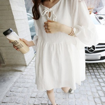 TE7840 Sweet lovely v-neck flouncing loose dress