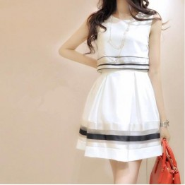 TE8003HYZJ Korean fashion organza stripes fake two piece dress