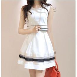 TE8003HYZJ Korean fashion organza stripes fake two piece dress