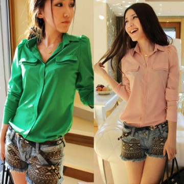 TE8019YP Korean fashion candy color slim long sleeve blouse