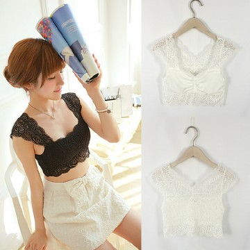 TE8063HYG Lace hollow out chest pad strap tube top