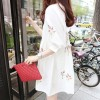 TE6129GJFS Korean fashion fresh coloured ear of rice embroidery loose dress