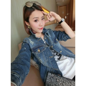 TE817ZC New style loose holes joker denim coat