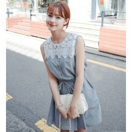 TE8182MEY Korean fashion lace splicing slim waist dress