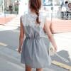 TE8182MEY Korean fashion lace splicing slim waist dress