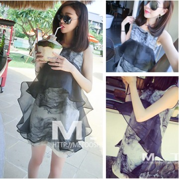 TE8187 Chinese ink painting organza splicing vest dress