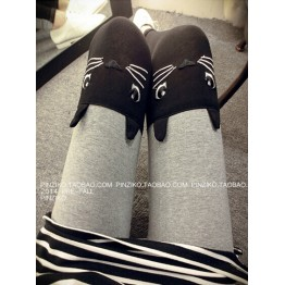 TE8192JD Korean fashion embroidery cat head leggings