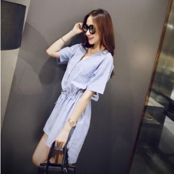 TE8199MEY Korean fashion vintage fresh v-neck slim waist dress