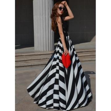 TE8063YLX Lace slim stripes splicing beach maxi dress