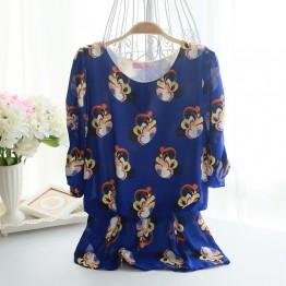 TE9006 Bubble sleeve shivering chiffon blouse