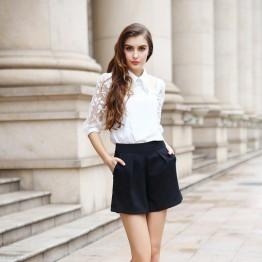 TE9012MH Organza embroidery beads chiffon shirt with wide leg shorts