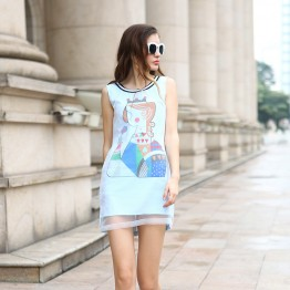 TE9013MH Organza cartoon print straight slim sleeveless dress