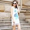 TE9013MH Organza cartoon print straight slim sleeveless dress