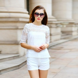 TE9015MH Europe fashion lace splicing short sleeve tops with shorts