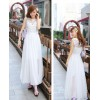 TE9017HES Bohemia fashion lace splicing wide hem sleeveless dress