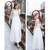 TE9017HES Bohemia fashion lace splicing wide hem sleeveless dress