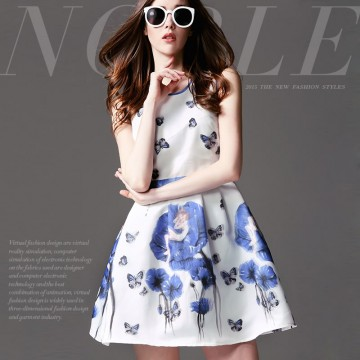 TE9023MH Summer fashion beautiful butterfly print sleeveless dress