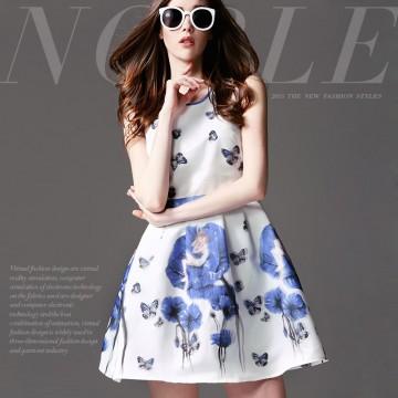 TE9023MH Summer fashion beautiful butterfly print sleeveless dress