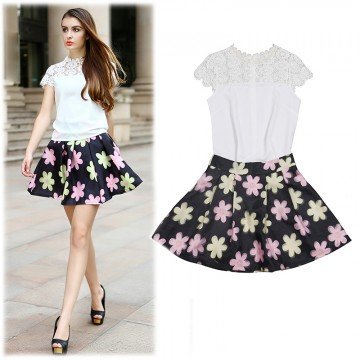 TE9028MH Summer fashion lace splicing chiffon short sleeve shirt with print skirt