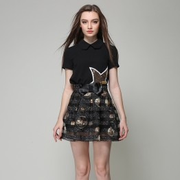 TE9030MH Summer sequins star tops with organza bubble skirt