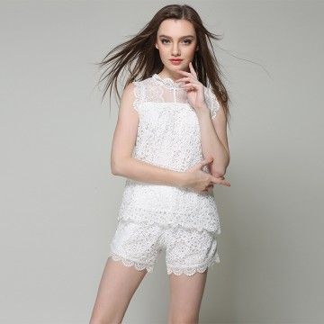 TE9033MH Lace splicing sleeveless shirt with short two pieces suit