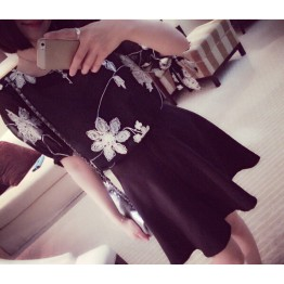 TE9038 Fresh elegant vintage embroidery chiffon blouse