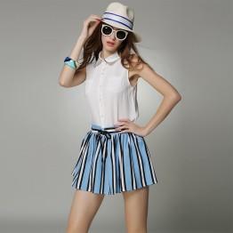 TE9056MH Europe fashion sleeveless shirt with stripes skirt