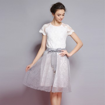 TE9057MH Elegant lace short sleeve tops with organza skirt
