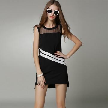 TE9058MH Europe fashion casual color matching organza splicing sleeveless dress