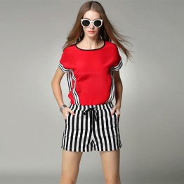 TE9060MH Europe fashion stripes chiffon shirt with shorts two pieces suit