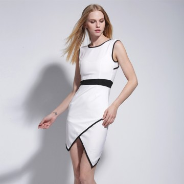 TE9061MH Europe fashion color matching backless sexy temperament dress