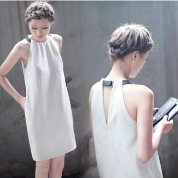 TE9076 Korean style fashion leather halter backless A-line dress
