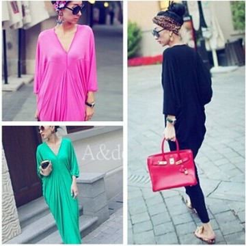 TE9126YBF V-neck temperament drape batwing maxi dress