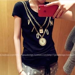 TE9222YBF Fashion necklace print simple T-shirt