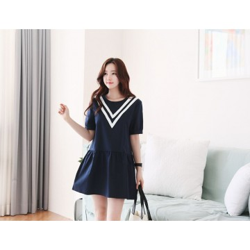 TE1544YJWL Preppy style V stripes round neck contract color dress
