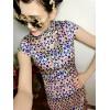 TE9290YBF Print vintage slim waist cheongsam dress