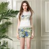 TE931NS Europe fashion temperament hollow out tops with print shorts