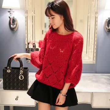 TE9321YJZJ Korean fashion loose batwing sleeve pullover sweater